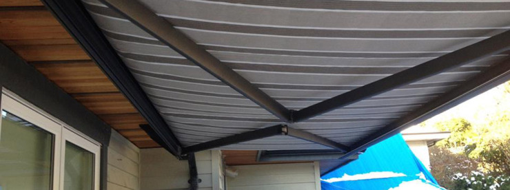 striped grey awning