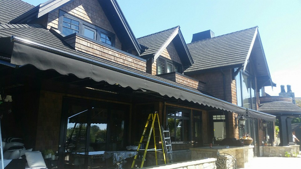 Soffit-Mounted Power Awning